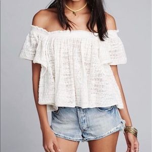 Free People Thrills & Frills Off Shoulder Top NEW